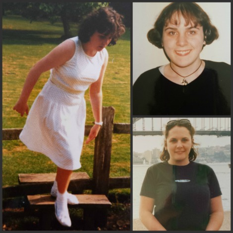 (Clockwise from left: me aged 11, 18 and 24)