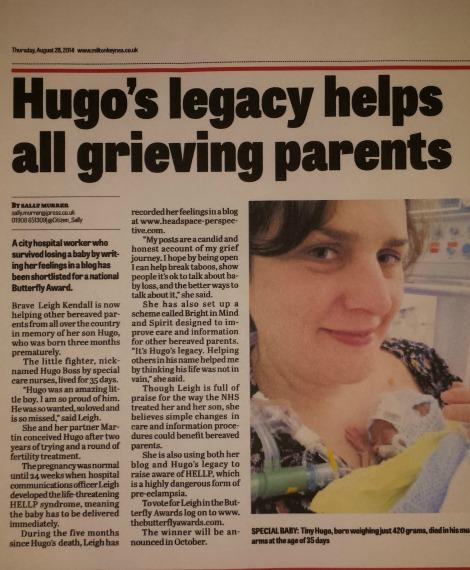 Hugo's story in the Milton Keynes Citizen