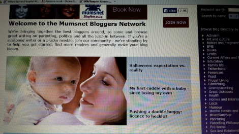 One of my Mumsnet front pages.
