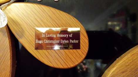 Close-up of Hugo's plaque.