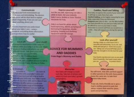 Poster giving advice for parents in a neonatal unit