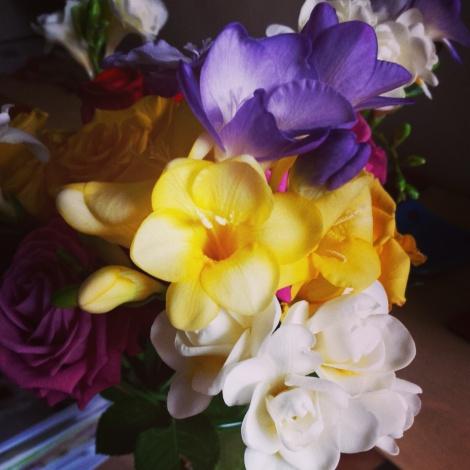 Freesias in full bloom.