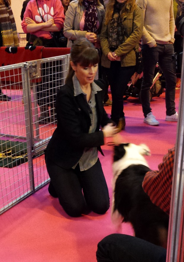 Dog behaviourist and TV presenter Victoria Stilwell doing a piece to camera.