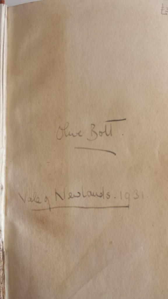 Olive's inscription.