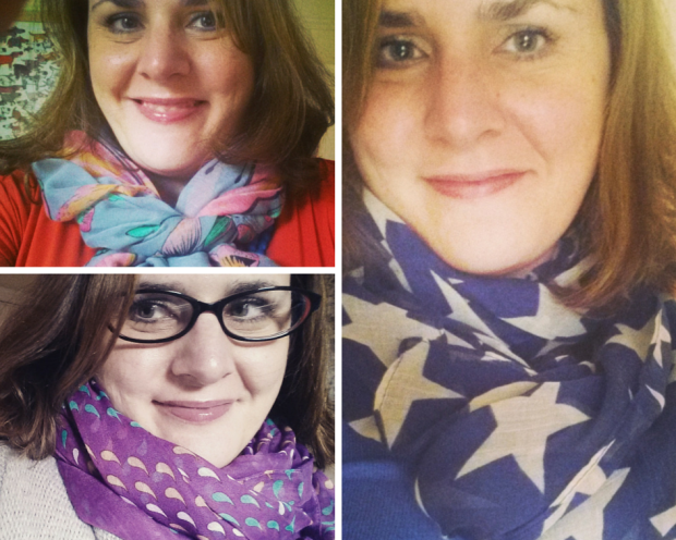 Scarves are an easy way of adding colour to an outfit.